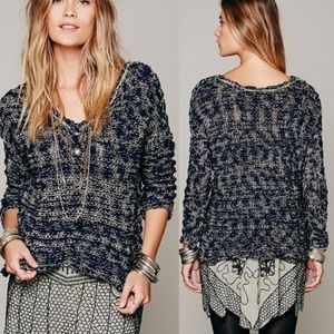 Free People V-Neck Chunky Knit Pullover Sweater XS